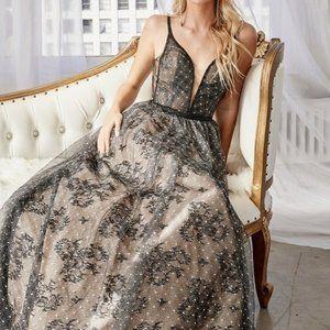 Prom Evening Open back Black/Nude Dress CD9928